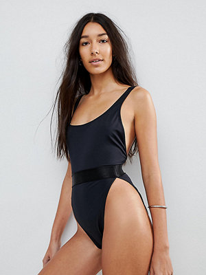 Asos Tall High Leg Elastic Waist Swimsuit