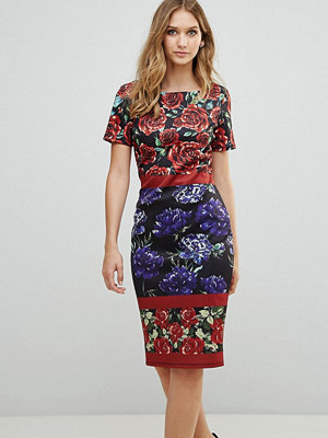 City Goddess Boat Neck Floral Pencil Dress