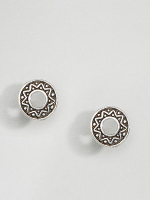 Kingsley Ryan örhängen Sterling Silver Etched Round Stud Earrings