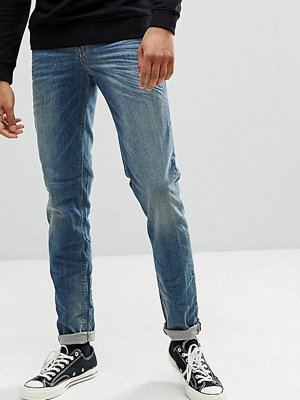 Jeans - ASOS TALL Stretch Slim Jeans In 12.5 oz Mid Blue