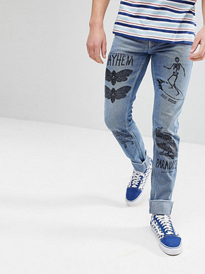 Jeans - ASOS Slim Jeans In Mid Wash Blue With Prints