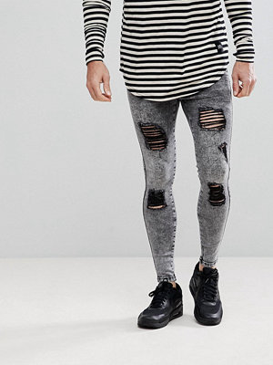 Jeans - Siksilk Muscle Fit Jeans In Acid Black With Distressing