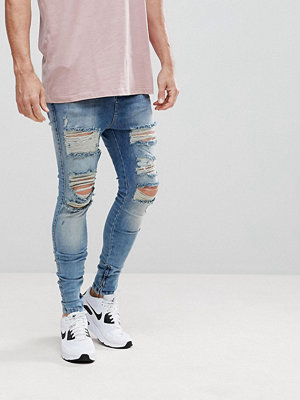 Jeans - Siksilk Muscle Fit Drop Crotch Jeans With Distressing