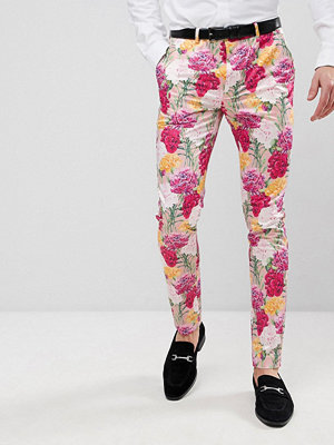 Byxor - ASOS Wedding Skinny Crop Smart Trousers In Pink Floral Print