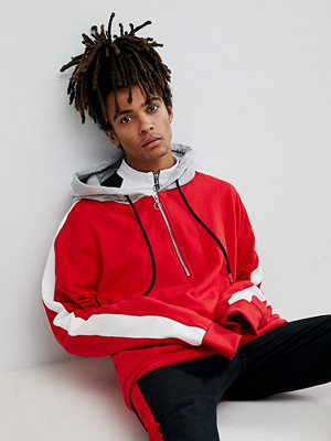 Street & luvtröjor - Sixth June Oversized Hoodie In Red With Half Zip And Stripe