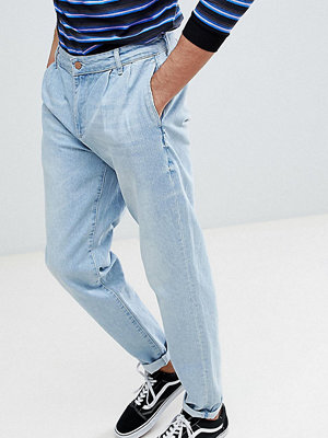 Jeans - ASOS TALL Double Pleat Jeans In Light Wash Blue