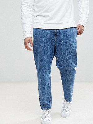 Jeans - ASOS PLUS Double Pleat Straight Leg Jean In Light Blue