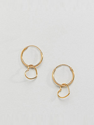 ASOS örhängen Gold Plated Sterling Silver Hanging Heart Charm Hoop Earrings