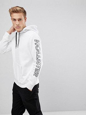 Street & luvtröjor - Hollister Sleeve Camo Print Logo Hoodie in White