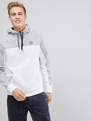Street & luvtröjor - Hollister Athletic Icon Logo Hoodie Cut & Sew in White/Grey