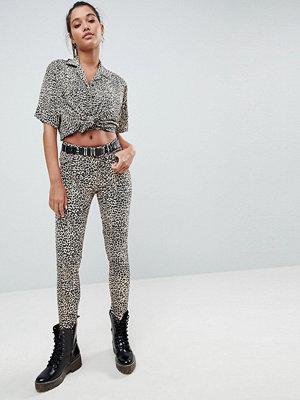 Motel Ultimate Leopardmönstrade jeans Brown leopard