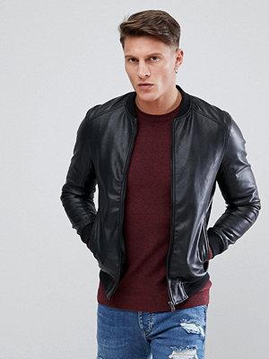 Skinnjackor - Pull&Bear Faux Leather Bomber In Black