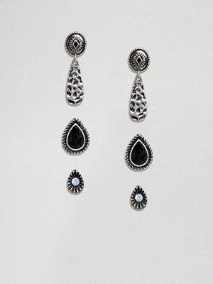 ASOS örhängen Pack of 3 Engraved Teardrop and Disc Stud Earrings