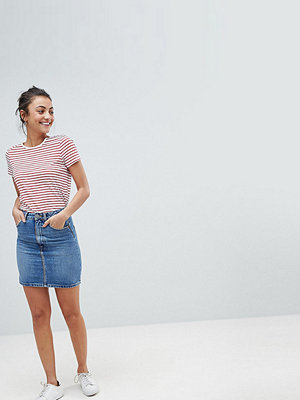 Asos Tall ASOS DESIGN Tall denim original high waisted skirt in stonewash blue
