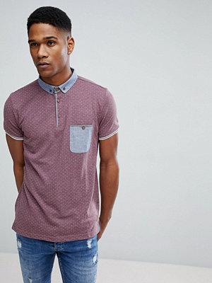 Brave Soul Spot Print Contrast Collar polo