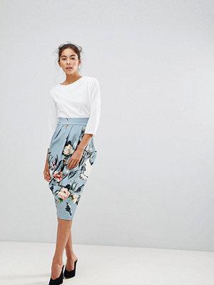 Closet London 2 in 1 Contrast Floral Pencil Dress