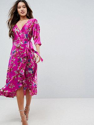 ASOS Wrap Ruffle Midi Dress in Floral Print