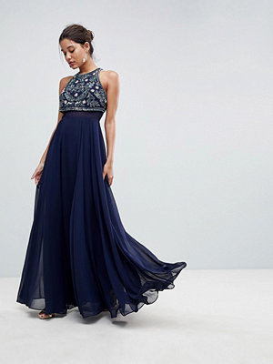 ASOS Crop Top Maxi Dress with Floral Embellishment