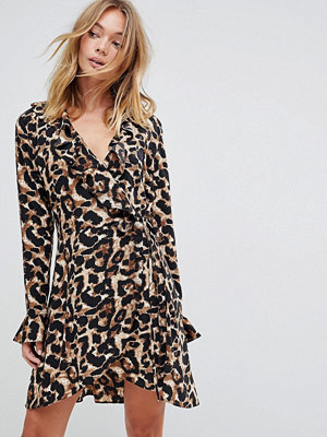 Liquorish Leopard Print Wrap Ruffle Dress - Black and brown
