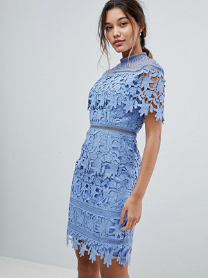 Chi Chi London Lace High Neck Pencil Midi Dress - Perry blue