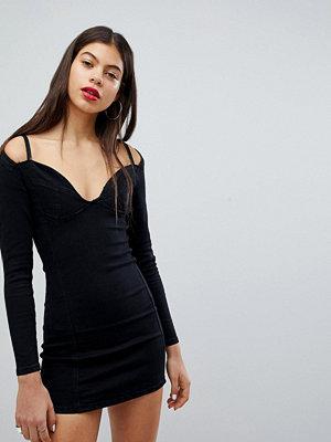 Liquor N Poker Denim Bralet Detail Dress
