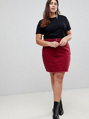 Liquor N Poker Plus Denim Mini Skirt with Raw Hem