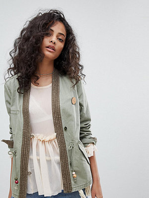 Maison Scotch Exclusive Military Jacket With Kimono Detailing - Military green