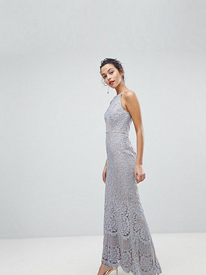 Jarlo All Over Lace Off High Neck Maxi Dress - Soft grey