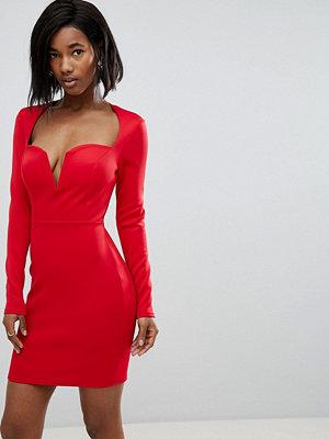 Club L Long Sleeve Scuba Boned Detailed Pencil Dress