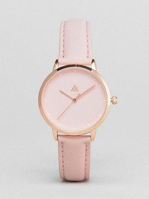 ASOS Curve Debossed Marker Pink Tonal Watch