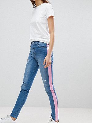 Chorus Tall Skinny jeans med rosa revär Blue/ pink stripe