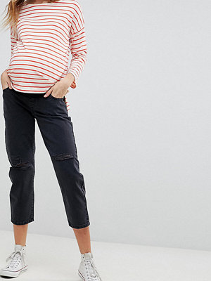ASOS Maternity Svarta boyfriend-jeans med slitningar på knäna Tvättad svart