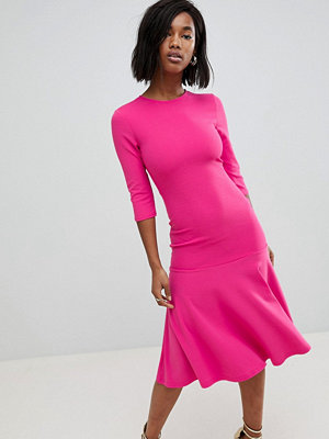 Club L Kick Flare Scuba Crepe Dress - Hot pink
