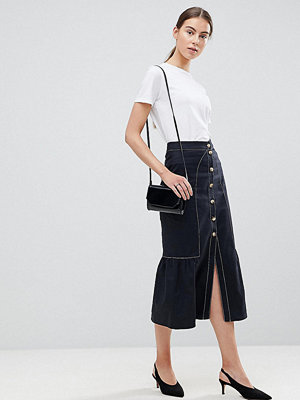 Asos Tall Midi Skirt with Buttons and Contrast Stitching