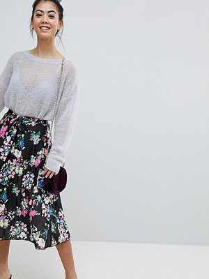 ASOS Petite Pleated Midi Skirt with Belt in Print