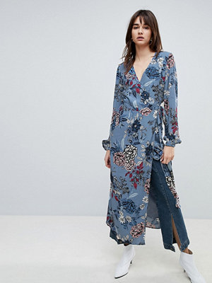 Gestuz Floral Printed Wrap Midi Kimono Dress - Light blue flower