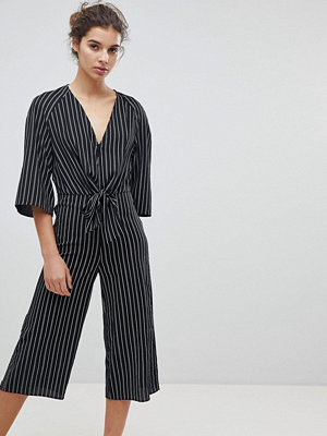 Miss Selfridge Tie Front Stripe Culotte Jumpsuit