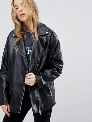 Miss Selfridge Oversized Leather Look Biker Jacket