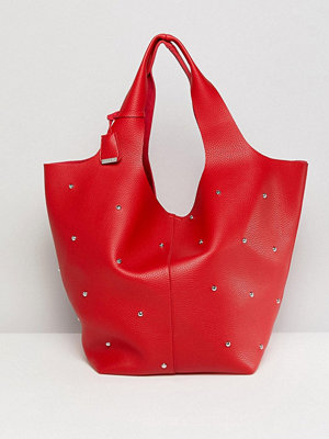 Glamorous shopper Red Bag With Stud Detail
