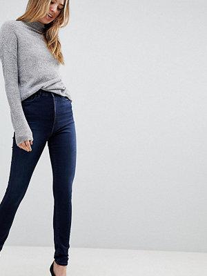 Asos Tall Ridley Blåsvarta smala jeans med hög midja Mellanblå färg