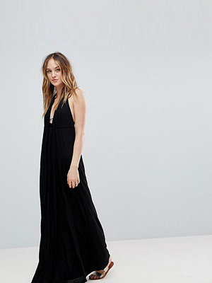 Asos Tall Tie Front Plunge Jersey Maxi Beach Dress