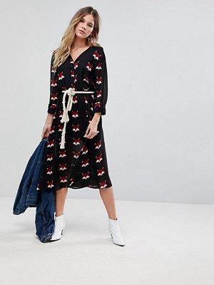 Liquorish Fox Print Shirt Midi Dress
