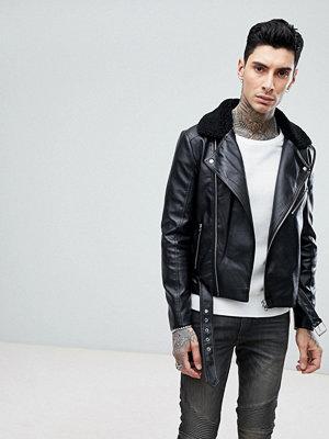 Skinnjackor - ASOS Faux Leather Biker Jacket With Borg Collar In Black