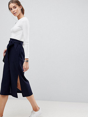 Asos Tall Tailored Linen Paperbag Waist Split Side Midi Pencil Skirt
