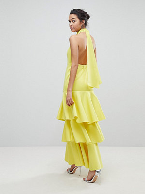ASOS Halter Neck Tiered Bow Back Maxi Dress