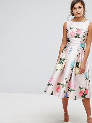 Chi Chi London Printed Satin Midi Prom Dress - Multi floral