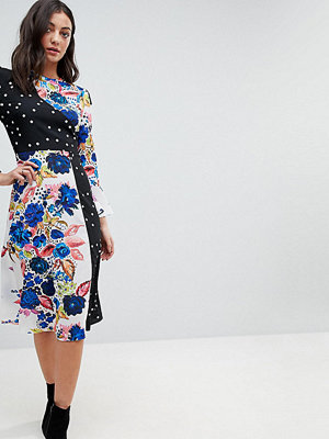 Asos Tall Spot and Floral Midi Dress With Fluted Sleeve