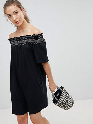 New Look Shirred Contrast Stitch Bardot Beach Dress