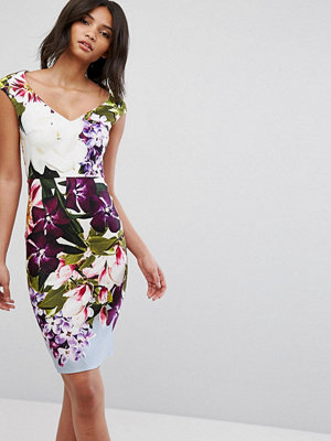 City Goddess Bold Floral V Neck Pencil Dress