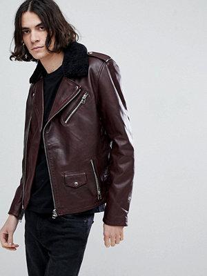 Skinnjackor - Goosecraft Idaho Leather Biker Jacket with Detatchable Collar in Redwood
